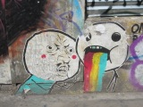 Rage comic faces street art in London